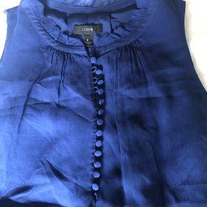 J crew blue silk top size 8